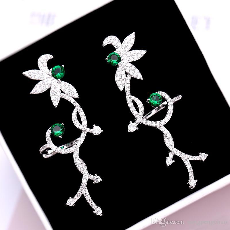 2019 Europa e America lusso zircone verde fiore orecchio clip 925 ago ago fiore d'argento orecchini orecchio gioielli clip di tendenza