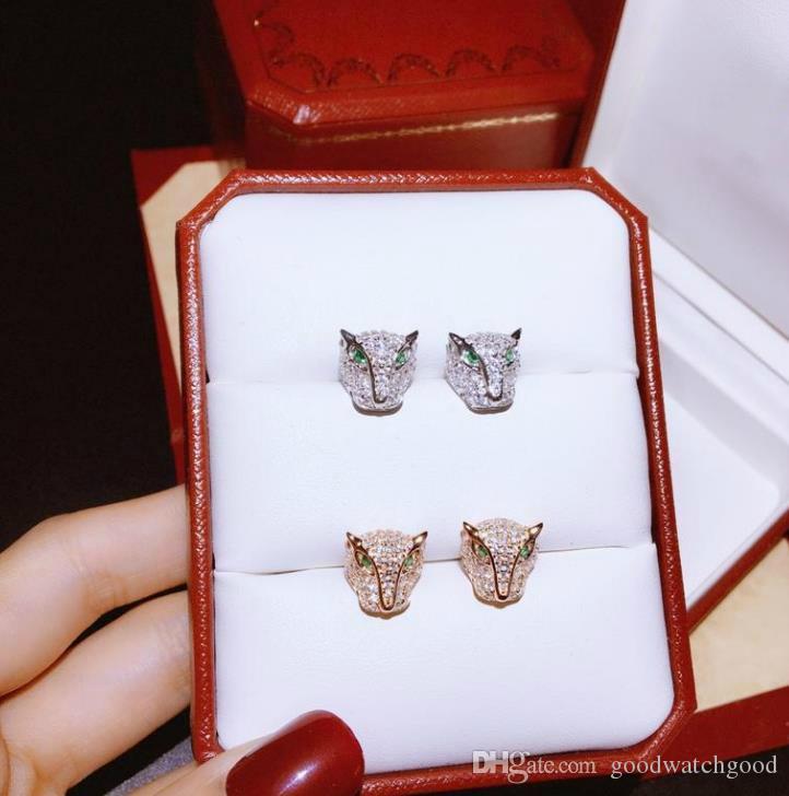 Bijoux Boucle d'oreille Femme Panthère de C Série 925 en argent sterling animal Leopard Head Stud 2 couleurs boucle d-oreille bijoux de mariage
