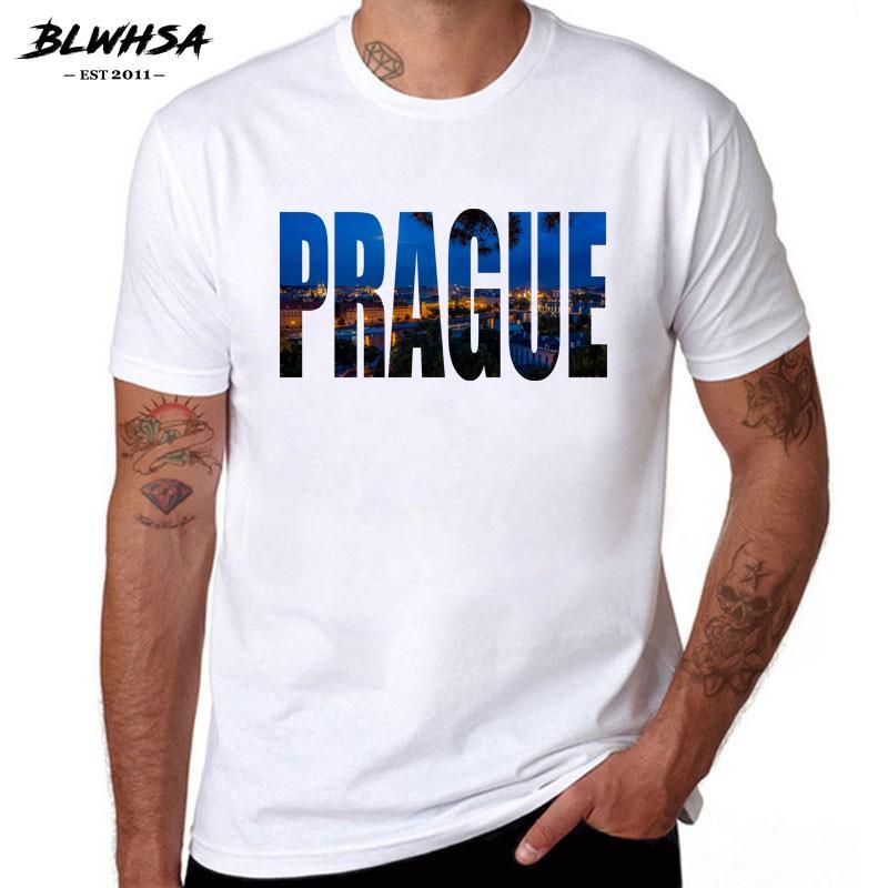Blwhsa Prague City Printing Men T Shirt Verano Manga Corta Marca Diseño Camisetas República Checa City Prague Hombres Ropa
