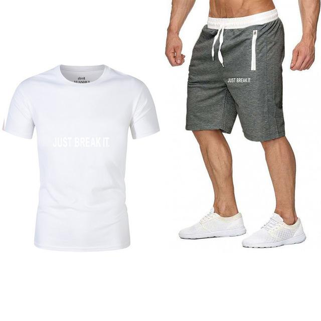 Fashion-New Brand Designer Men Tracksuit JUST BREAK IT Sweatshirt Drawstring Pants Male Fashion O-Neck Short Sleeve Tracksuit Summer Men