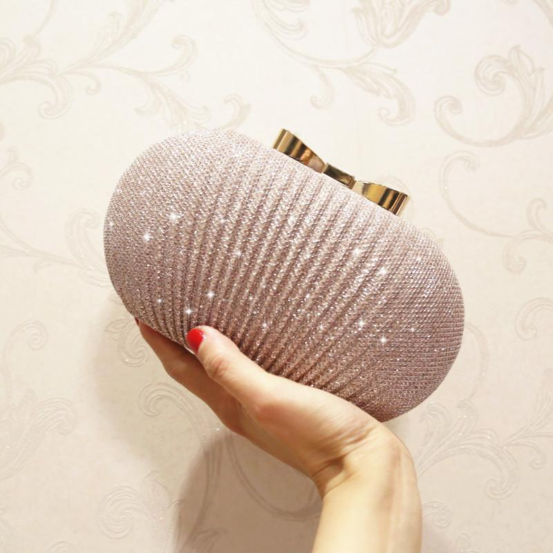 Sparkly Champagne Bridal Hand Bags Solid Shell Clutches For Wedding Jewelry Four Colors Prom Evening Party Shoulder Bag