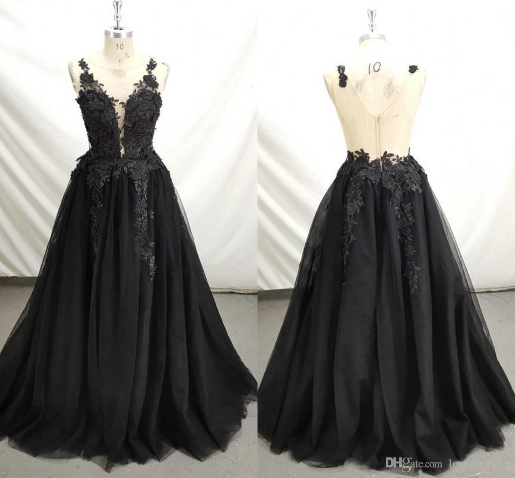 2020 Vestidos para ocasiones especiales Negro de noche del cordón más el tamaño de la joya Sheer V de encaje sin espalda Prom vestidos de bola dulce 16 del vestido de los vestidos formales