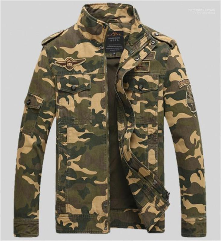 Epaulet Mens Outerwears Casual Pockets Males Clothing Camouflage Print Mens Designer Jackets Fashion Loose Zipper Panelled