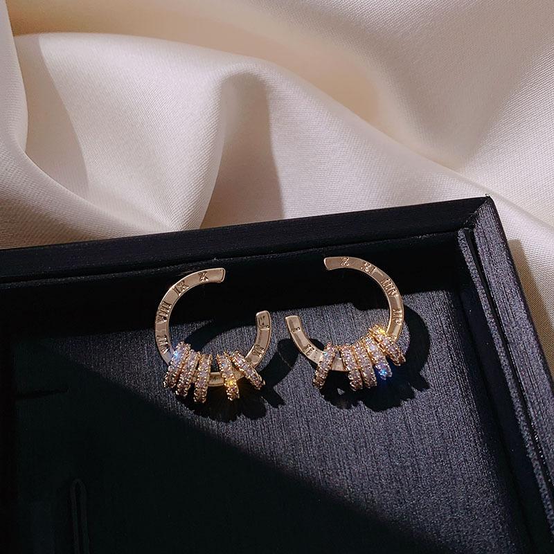 New Gold elegante simples Cheio de jóias elegantes Micro Pave Argola de cristal brincos Mulheres Charme alta-Grade