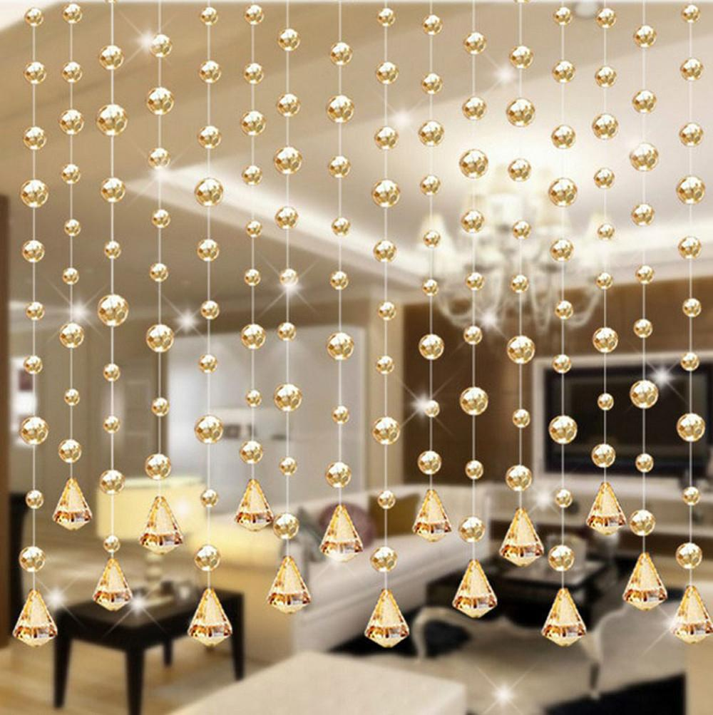 Home Decoration Accessories Modern 1 Glass Beads Door String Tassel Curtain Wedding Divider Panel Room Decor W1028