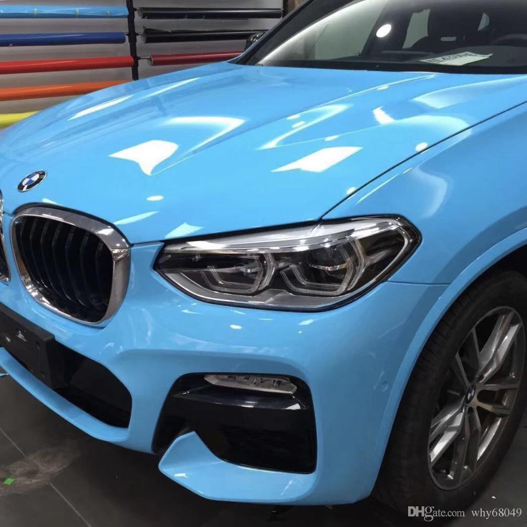 1.52 * 18m PVC 하이라이트 광택 수정 같은 빛 파란 색깔 차 몸 보호 접착 성 비닐 자동 필름