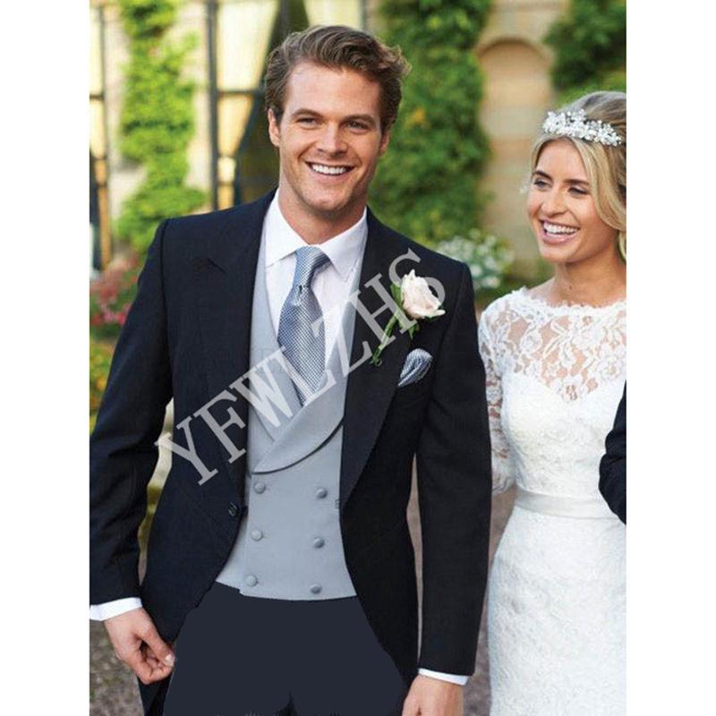 Handsome One Button Groomsmen Peak Lapel Groom Tuxedos Men Suits Wedding/Prom/Dinner Best Man Blazer(Jacket+Pants+Tie+Vest) W209