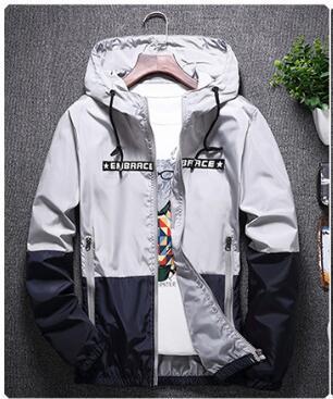 5 couleurs pour hommes coupe-vent léger capuche Slim Fit Vestes lettre imprimée de grande taille S-4XL de haute qualité