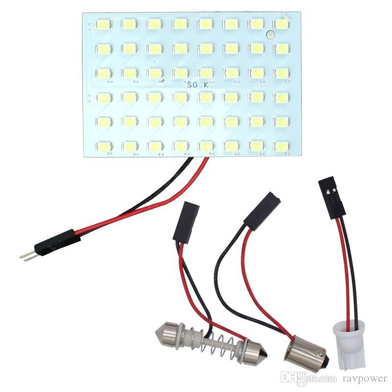 2PCS 48 LED 1210 3528 SMD Panneau Lampe De Voiture Ampoules T10 + BA9S + Festoon Dôme Lampe