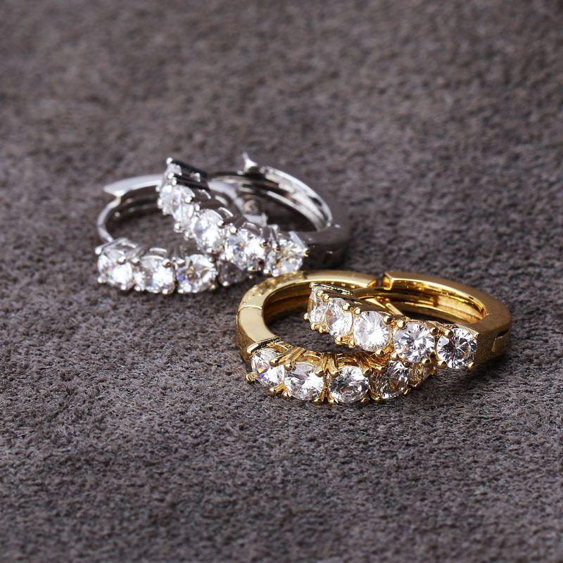 Mens Hip Hop-Band-Ohrringe Schmuck-Qualitäts-Mode-Rund Gold Silber simulierter Diamant-Ohrringe für Cool Männer Frauen Paar Ohrringe