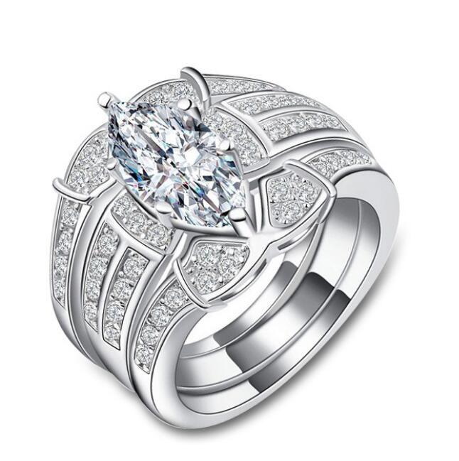 Fast Free shipping SONA synthetic diamond engagement ring semi mount 18k white gold wedding Diamond ring double layer Three-piece ring set