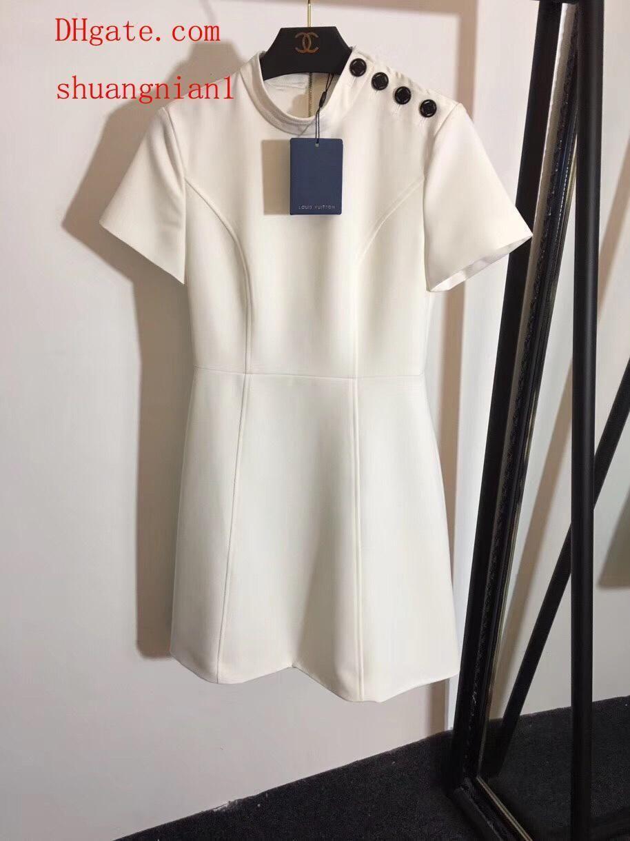 2019 abiti da donna di marca Nuovo colletto alla coreana in vita sottile abito a maniche corte da donna Abiti casual Abiti da donna di alta qualità uu-7