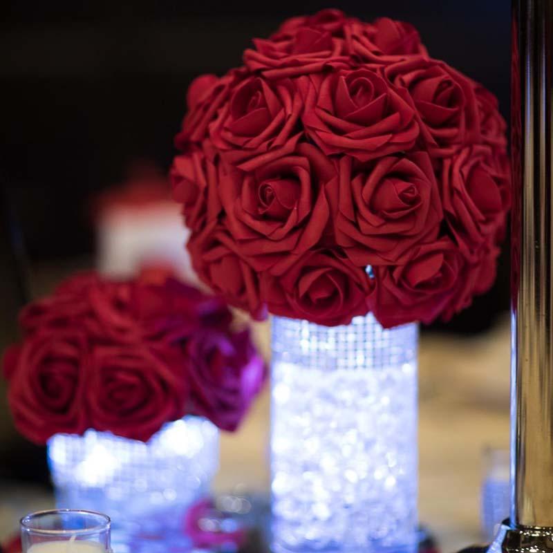 10 Jefes de 8 cm decorativo flores artificiales de Rose novia de la boda del ramo de la torta de DIY de espuma de flores para la decoración del día de San Valentín Inicio