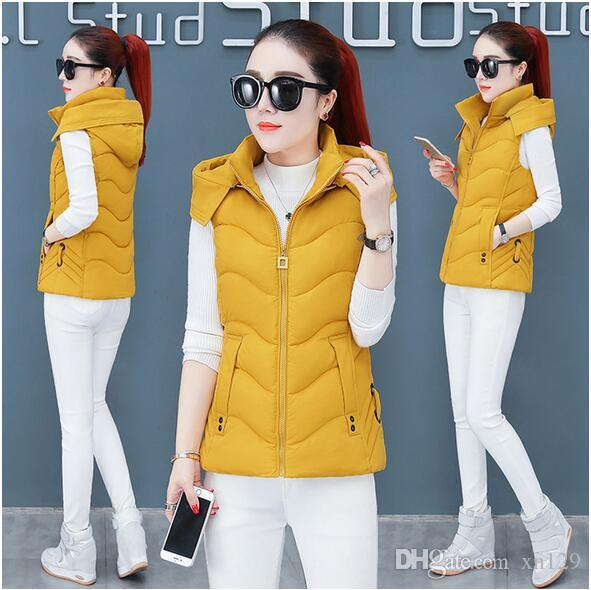 2019 Cotton Women Winter Vest Jacket Thick Section Keep Warm Vest Coat Hooded Solid Cold Season Winter Women Waistcoat