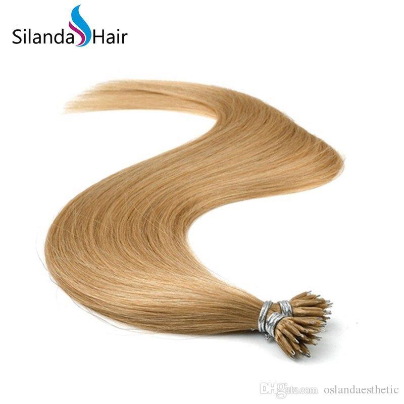 # 14 reale dei capelli umani Nano Anello punta di estensioni dei capelli da 20 pollici 1.0g / s 50 fili / pack Free Shipping