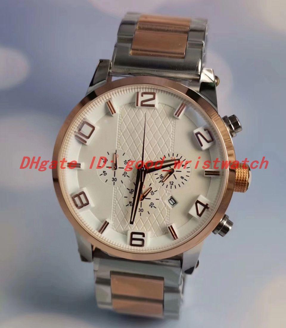 Sıcak satış montre de luxe erkek saatler Gül altın paslanmaz çelik kasa İki tonlu spor Japonya'nın kuvars hareketi kronograf Luxusuhr