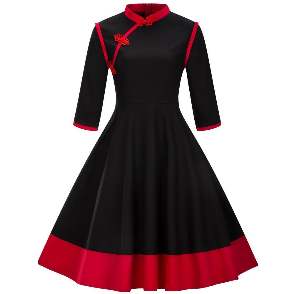 Großhandel Herbst Winter Frauen Weinlese Rockabilly Kleid 16/16 Arm  Stehkragen Schwarz Rot Partei Kleid Chinesischen Stil Robe Retro Schwingen  Von