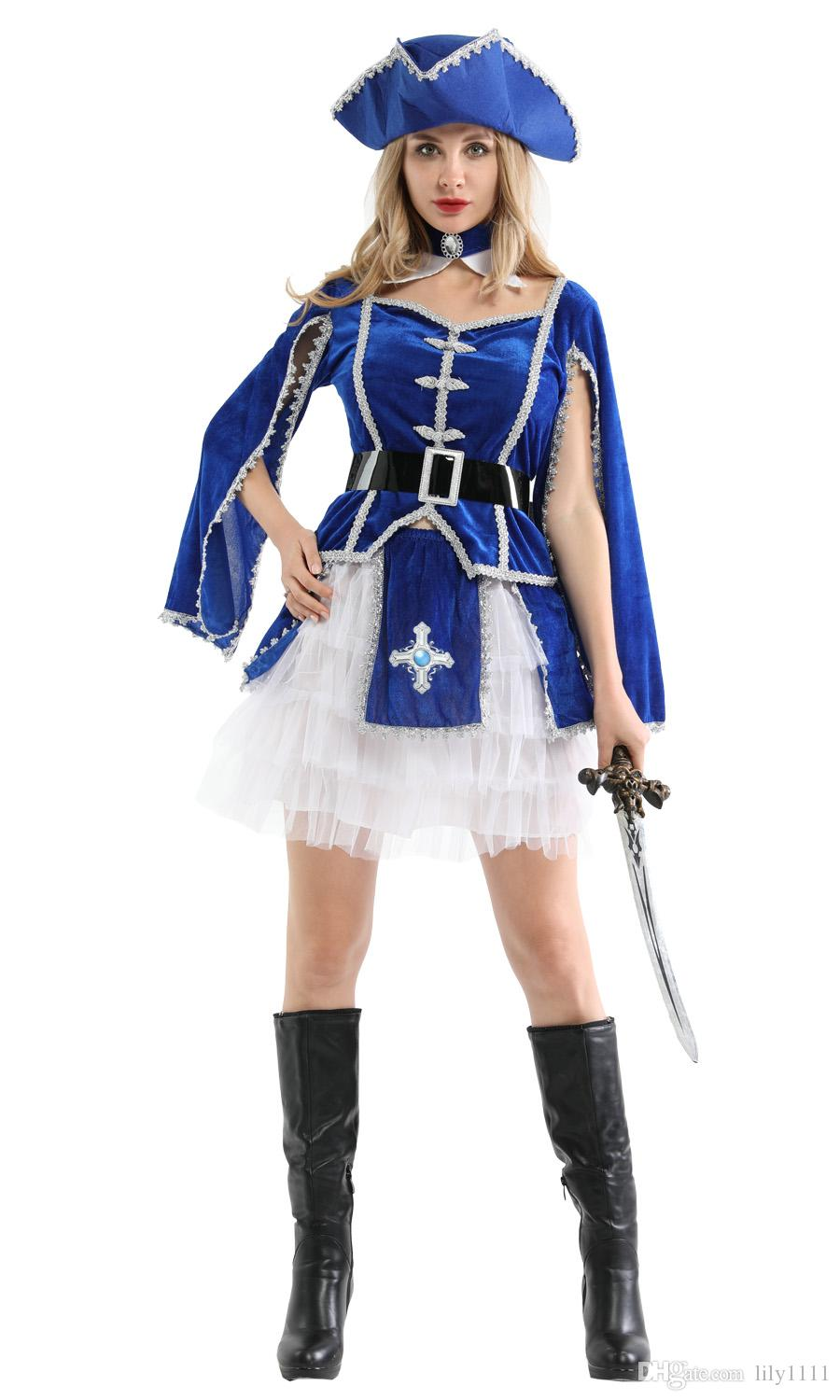 Shanghai Story Holiday Halloween Party Blue And White Pirate Cosplay Costume Caribbean Pirates With hat For Women