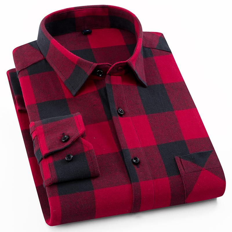 Men's 100% Cotton Casual Plaid Shirts Pocket Long Sleeve Slim Fit Comfortable Brushed Flannel Shirt Leisure Styles Tops Shirt C19041702