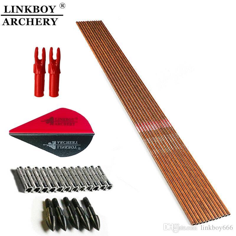 Spine300-600 ID6.2mm Archery Carbon Arrow Shafts Bow DIY Arrows Linkboy 12PCS