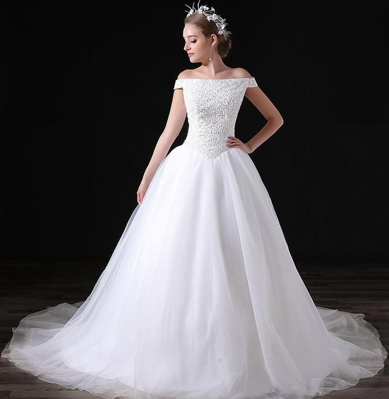 Элегантные Белые Платья Лодочный Вырез С Бисером Короткие Рукава Линия Тюль Длинные Свадебные Платья Невесты Плюс Размер Для Женщин Свадебные Платья