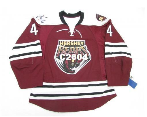 Gerçek Erkekler gerçek Tam nakış 4. Hershey Bears 4 John Carlson Çığ Başkentleri Hokeyi Jersey veya özel herhangi bir ad veya numara Hokeyi Jersey