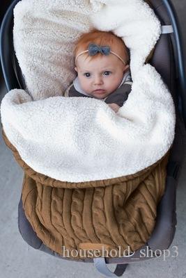 Новорожденный Младенец Овсянка Сумка Толстая Детская Детская Вязаная Детская Коляска Сумка Защитит Ребенка от Холода и Ветра Детская Коляска Спальный Мешок В Наличии