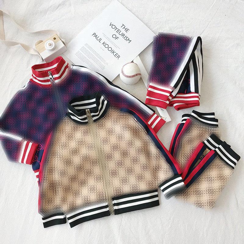 Los niños Traje de deporte de las muchachas de ropa de vestuario G Cartas de los diseñadores chándales adolescente manga larga Sport chaqueta del juego + pantalones largos
