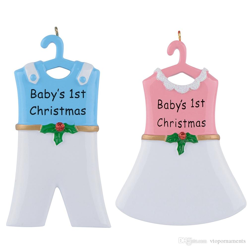 Baby 1st Resin Hang Boy Suit Girl Skirt Personalized Christmas Ornament As Craft Souvenir For Holiday Gifts Home Decor