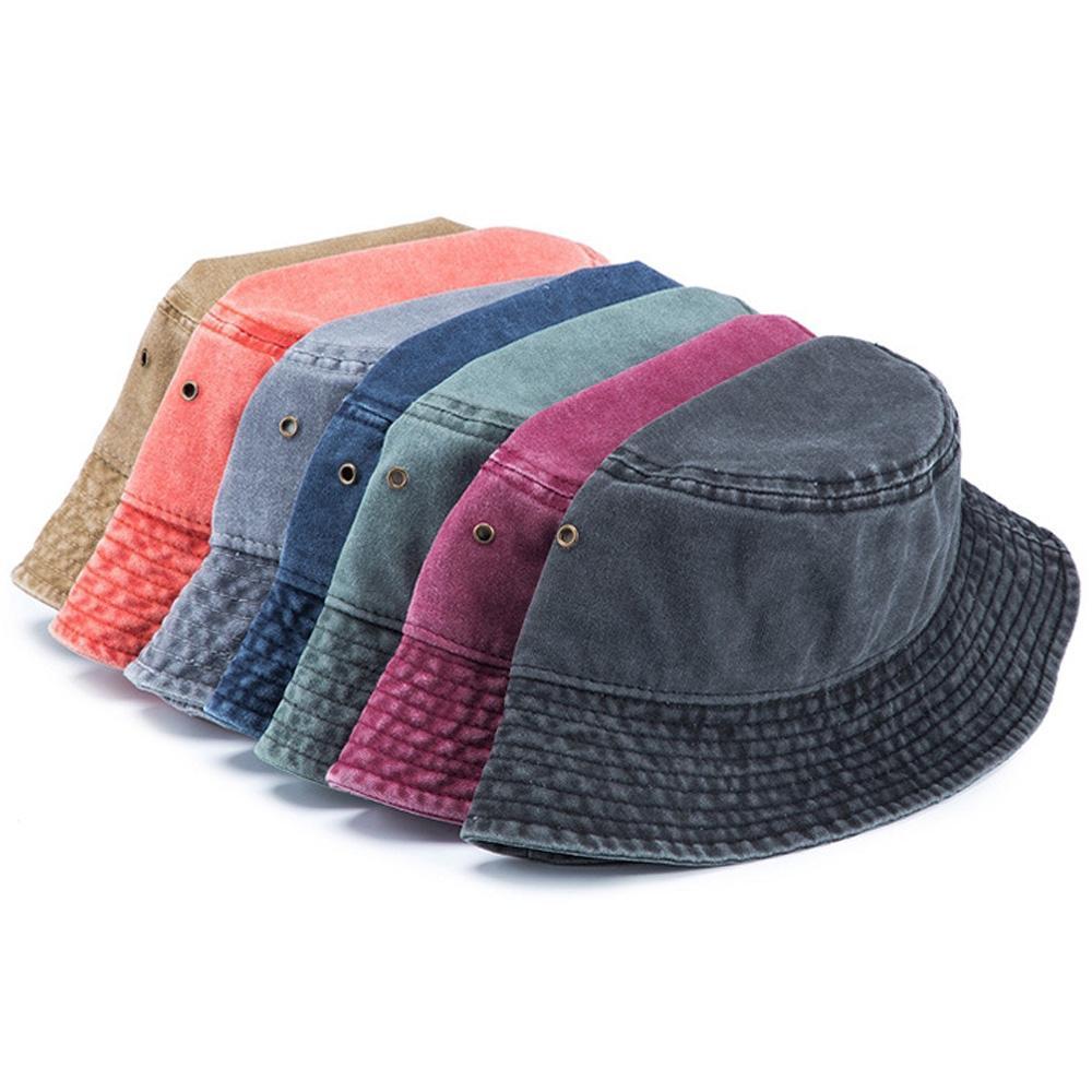 Джинсовое ведро шляпа женщин мужчины винтажные вымытые круглые кепки улица Боб корейские рыболовные шляпы рыбацкие колпачки хип-хоп Хараджуку Панама охота на открытом воздухе