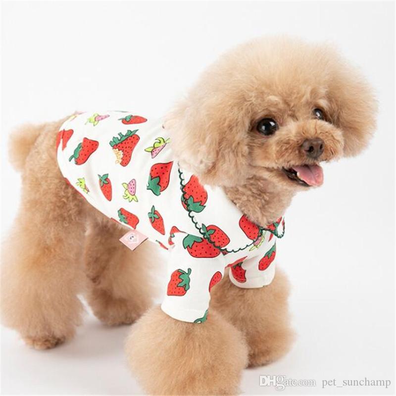 Lindo fresa impreso camisetas para mascotas verano encantador encanto vestidos para mascotas al aire libre calle estilo Teddy Schnauzer ropa