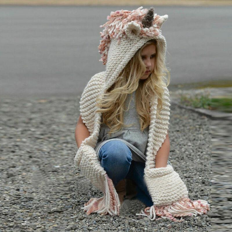 Meninas / mulheres Unicorn com capuz Scarf animal Hoodie Cowl Crochet malha Beanie Hat Crianças Adultos desenho animado cosplay presente de aniversário lenço