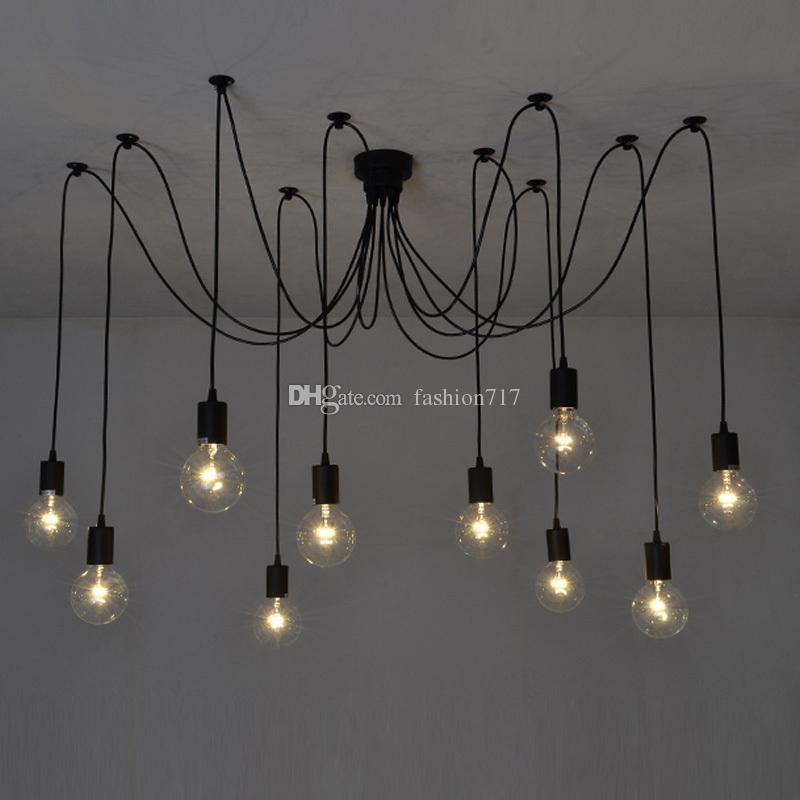 빈티지 노르딕 거미 펜던트 램프 여러 조정 가능한 레트로 조명 다락방 클래식 장식 고정물 조명 LED 홈 P2073