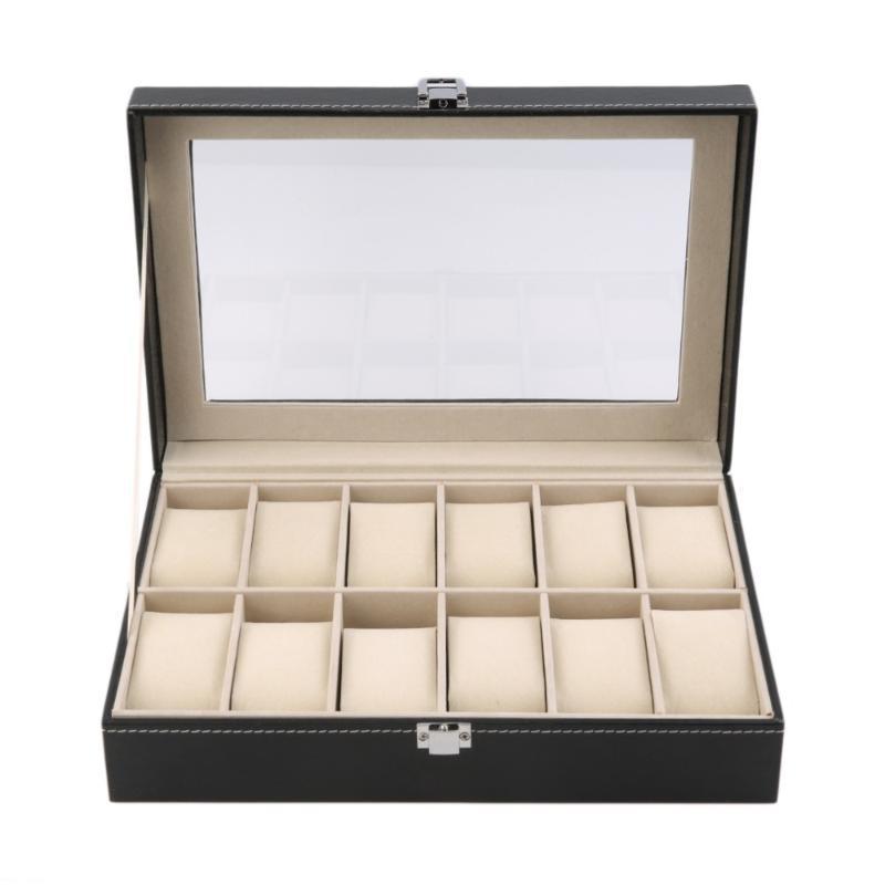 12 слотов сетки искусственная кожа часы дисплей коробка для хранения ювелирных изделий организатор чехол заблокирован часы дисплей шкатулка с черным цветом