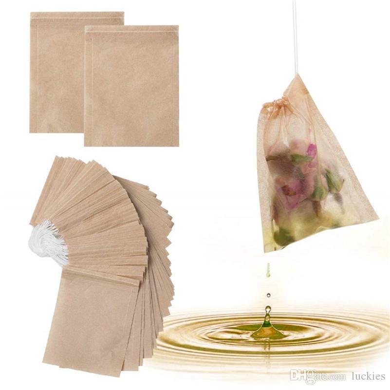100 Teile/Los 6*8 cm Papier Tee Filterbeutel Mit Kordelzug Ungebleicht Papiertüte für Tee und Kaffee Küche Heimgebrauch
