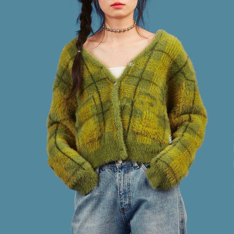 빈티지 합성 밍크 캐시미어 스웨터 여성 하라주쿠 게으른 스타일 V 넥 여성 무성한 격자 무늬 니트 카디건 V191217 싱글