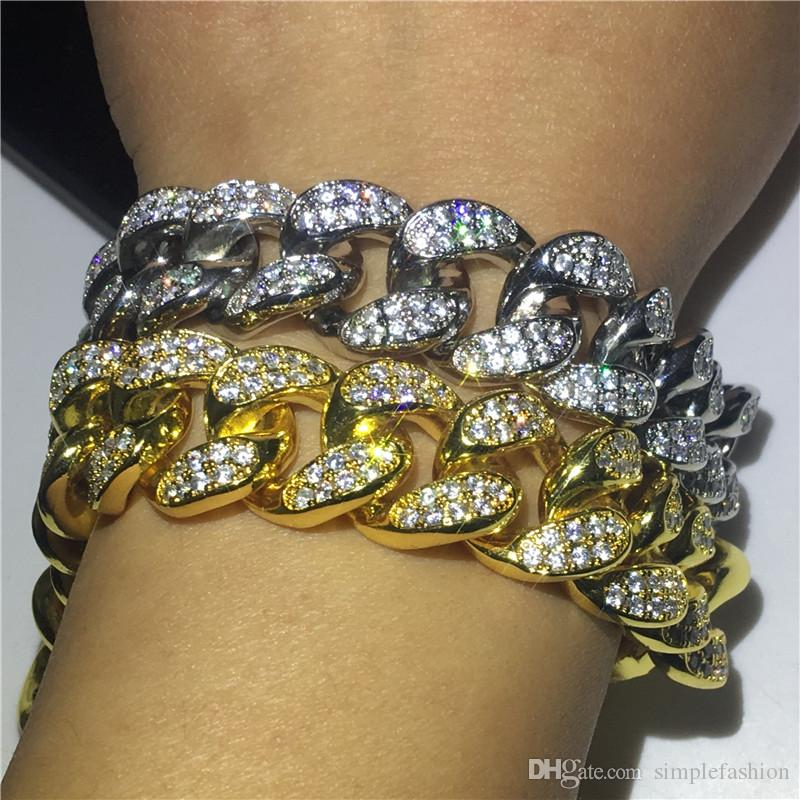 Vecalon Luxus Männlich Hiphop Armband weißes Gold füllte Diamanten Partei Jahrestag Armbänder für Männer Fashion Rock Jewerly