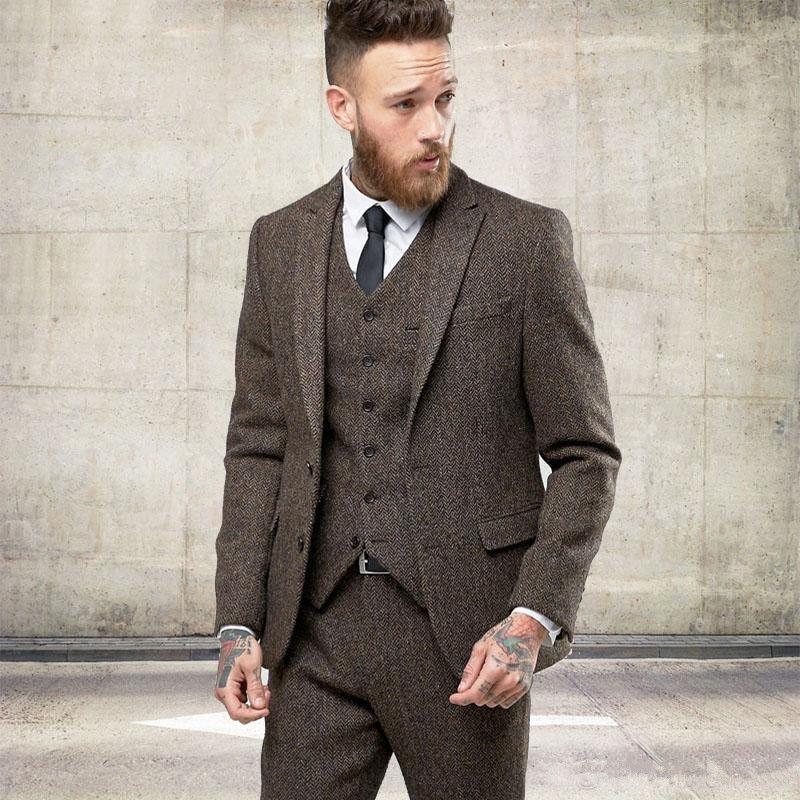 New Custom Tweed Ternos De Lã Dos Homens de Inverno Formais Skinny Casamento Smoking Fofa Moderna Blazer 3 Peça Dos Homens Ternos (Jacket + Pants + Vest) 689