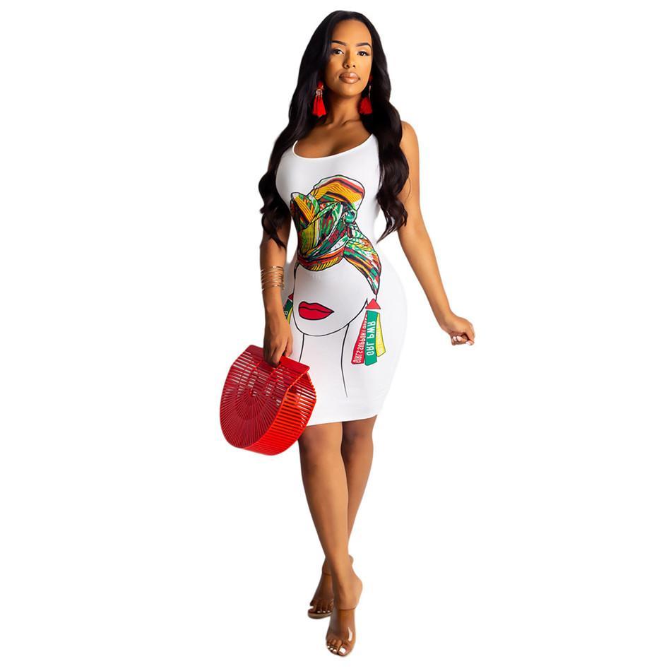 Compre Mini Vestido Ajustado Sexy Con Estampado De Personajes Kawail Mujeres Sin Mangas Con Espalda Abierta Vestido De Verano Blanco Tallas Grandes Vestido Ajustado Causal Club Nz19 9 70 A 20 44 Del