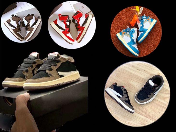 Mocha bebé roja top del punto bajo de Scott Travis Baloncesto de calzado infantil calzado 1s niños de alta OG Jacks 1S zapatilla del air jordan 1