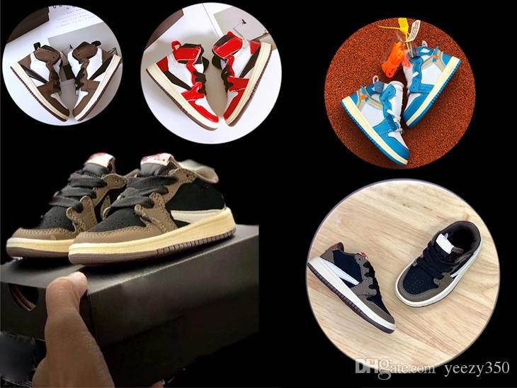 أحمر الرضع موكا أعلى منخفض سكوتس كرة السلة أحذية الأطفال 1S العليا OG الاطفال الرافعات 1S أحذية رياضية مدرب طفل الطفل سكوتس حذاء