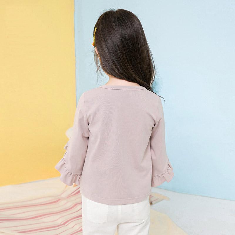 Kız Çocuk Gömlek Okul blusas için 2018 Bahar Moda Yeni Bebek Kız Giyim Sevimli Uzun Ruffles Kol Bluz Pembe Gömlek