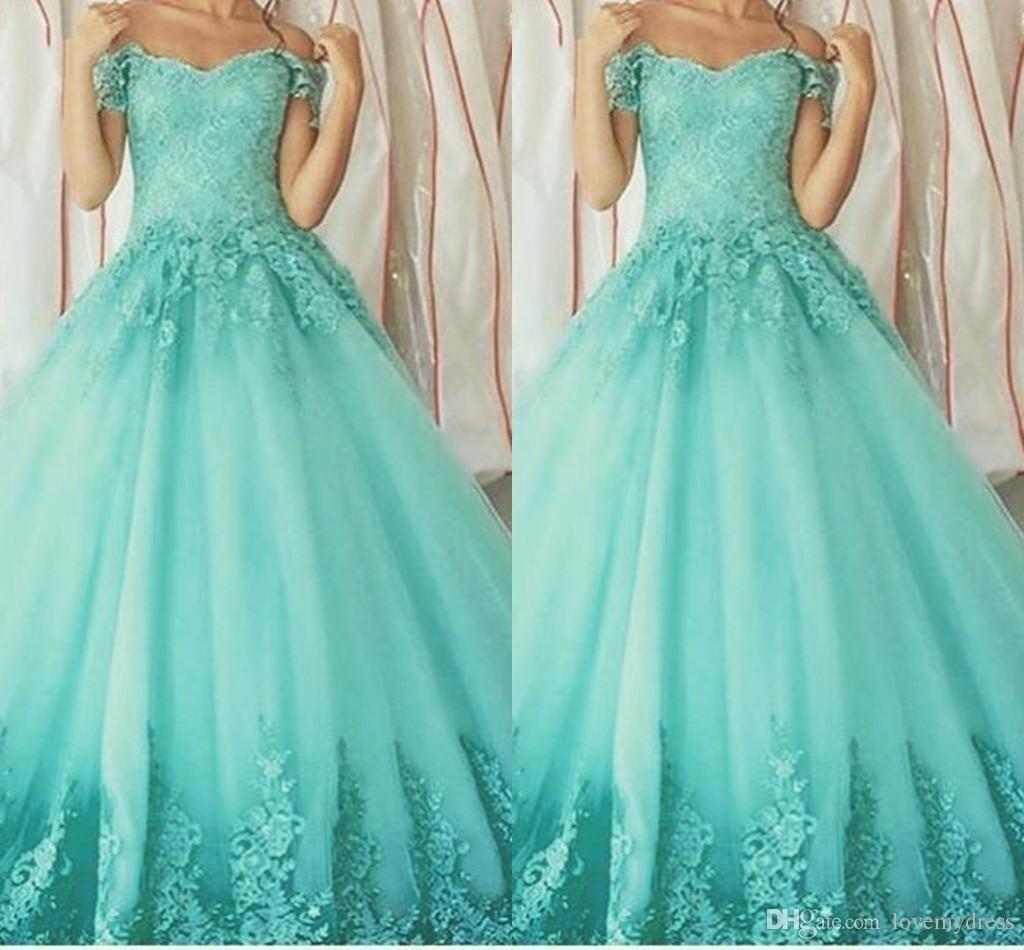 아쿠아 블루 오프 숄더 스위트 16 드레스 레이스 Applique는 8 학년에 대한 파티 Quinceanera 드레스 파티 졸업 드레스를 망치