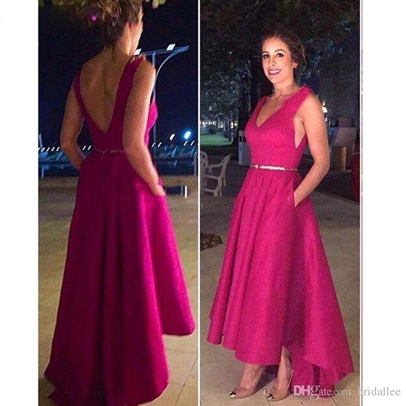 Короткое переднее длинное заднее выпускное платье Высокий низкий атласный Фуксия Вечернее платье 2019 vestidos de coctel