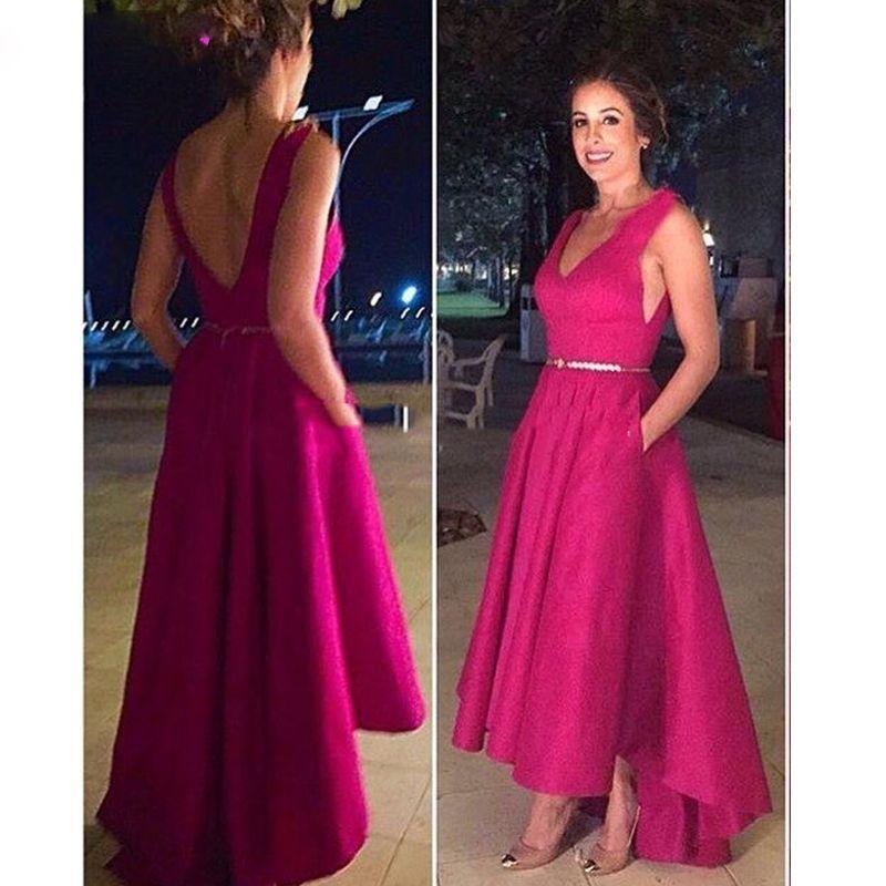 Short Front Long Back Prom Dress High Low Satin Fuchsia Party Dress 2019 vestidos de coctel
