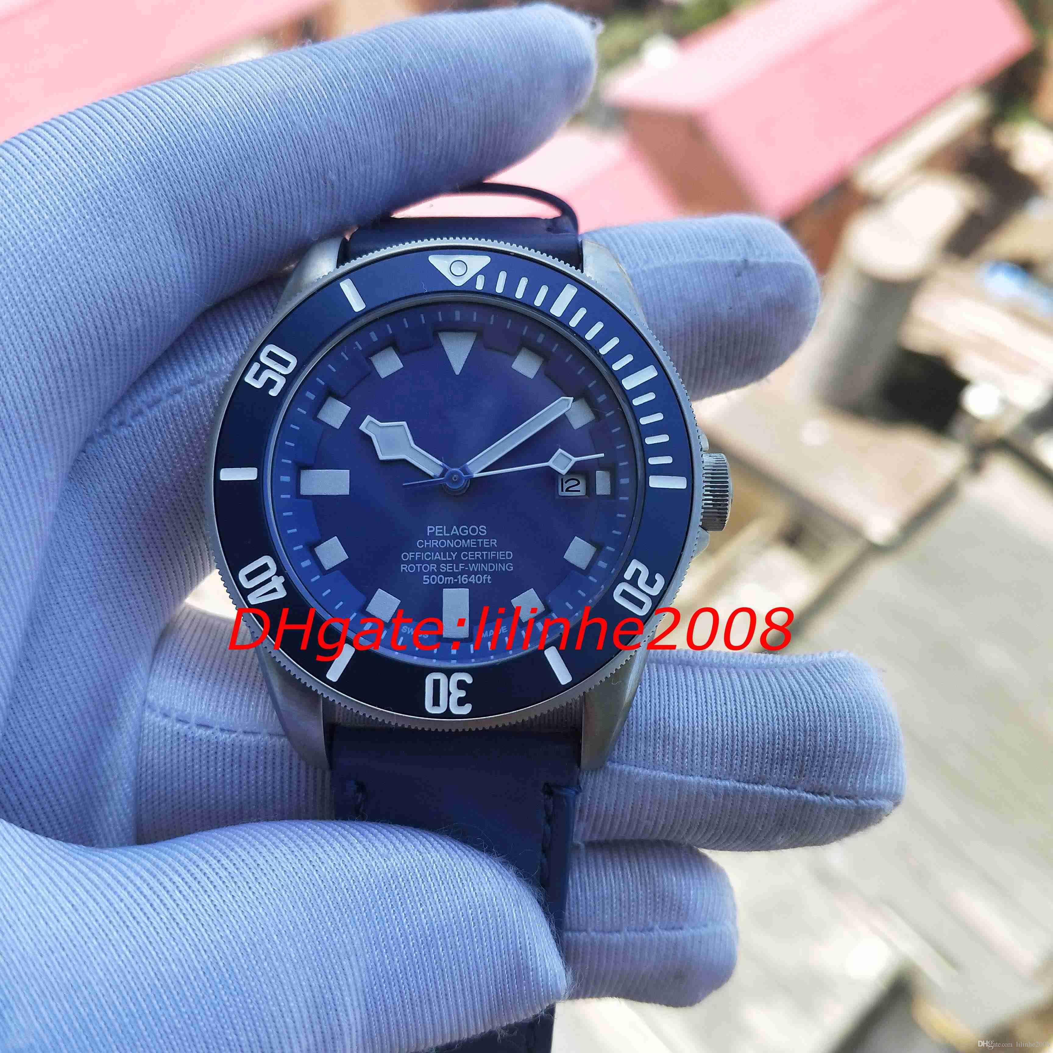alça de movimento de couro de alta qualidade Assista 25600TN 79230B 25600TB GENEVE relógios automáticos Calendário mostrador azul Homens Relógios de pulso