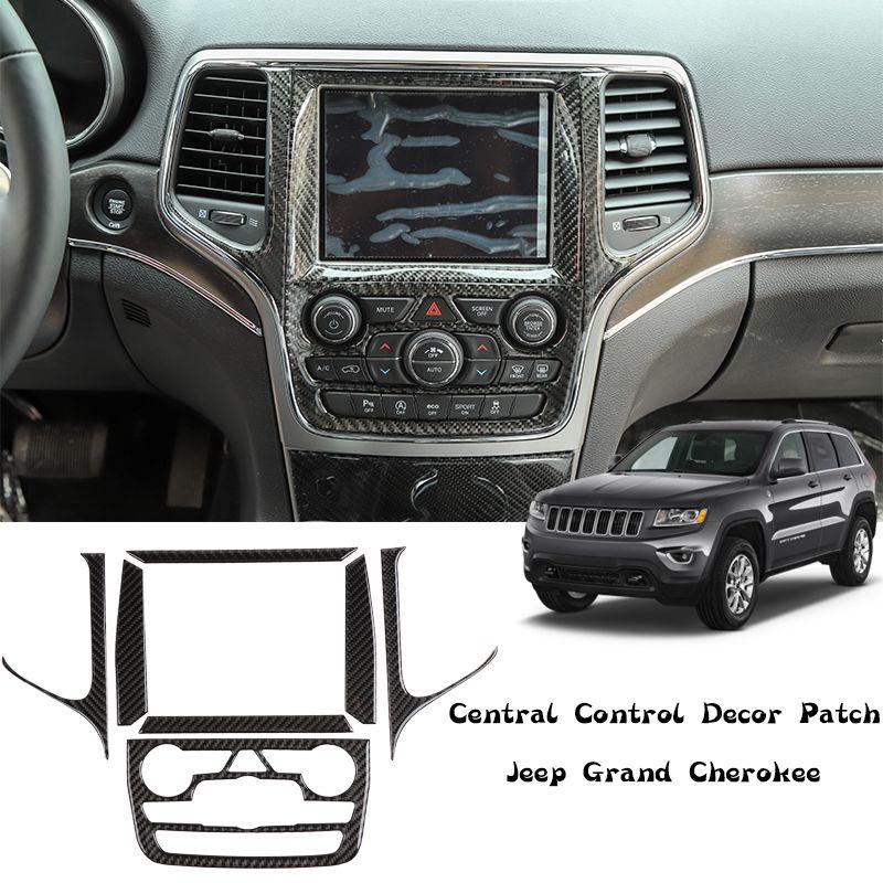 Carbon Fiber Grain Screen Center Control Sticker Decoration For Jeep Grand Cherokee 2014+ Auto Interior Accessories