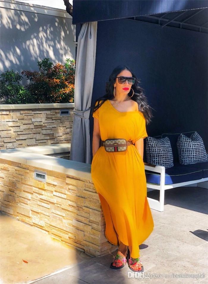 Soild Color Split Slash-Ausschnitt Kurzarm-Kleid Asymmetrische Knöchel-Längen-böhmisches Kleid Mode Cacual Sommerkleider