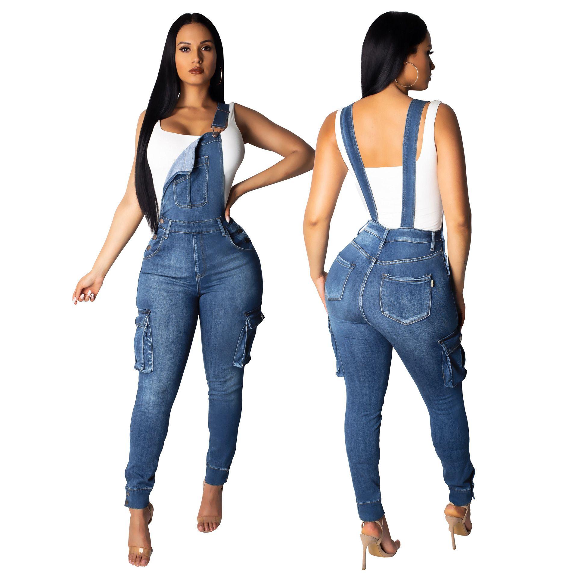 2019 nouvelles femmes crayon été salopettes de poche des jeans poche arrière décontracté vintage côté mode pantalon en denim barboteuse femmes pantalon en denim longues