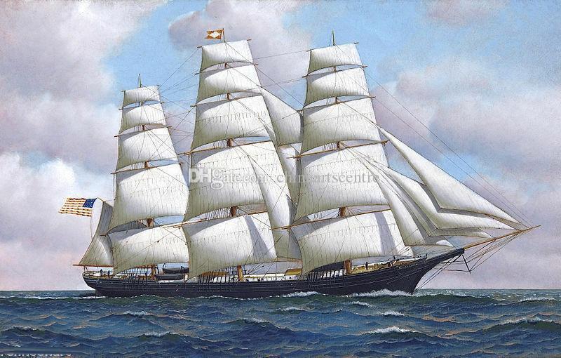 Virginie. Antonio Jacobsen peint à la main - La tondeuse américaine bateau Flying Cloud en mer Art Peinture à l'huile sur toile Wall Art Accueil Haute décembre Quality77